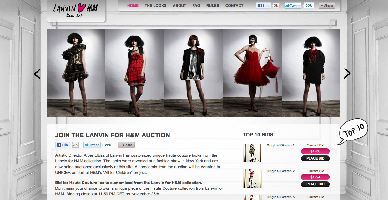 Lanvin for H&M Auction
