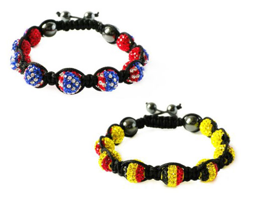 Olympic Sparkle: Love Crystal Flag Bracelets