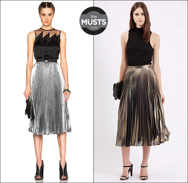 Pleated Metallic Skirt - Skirts