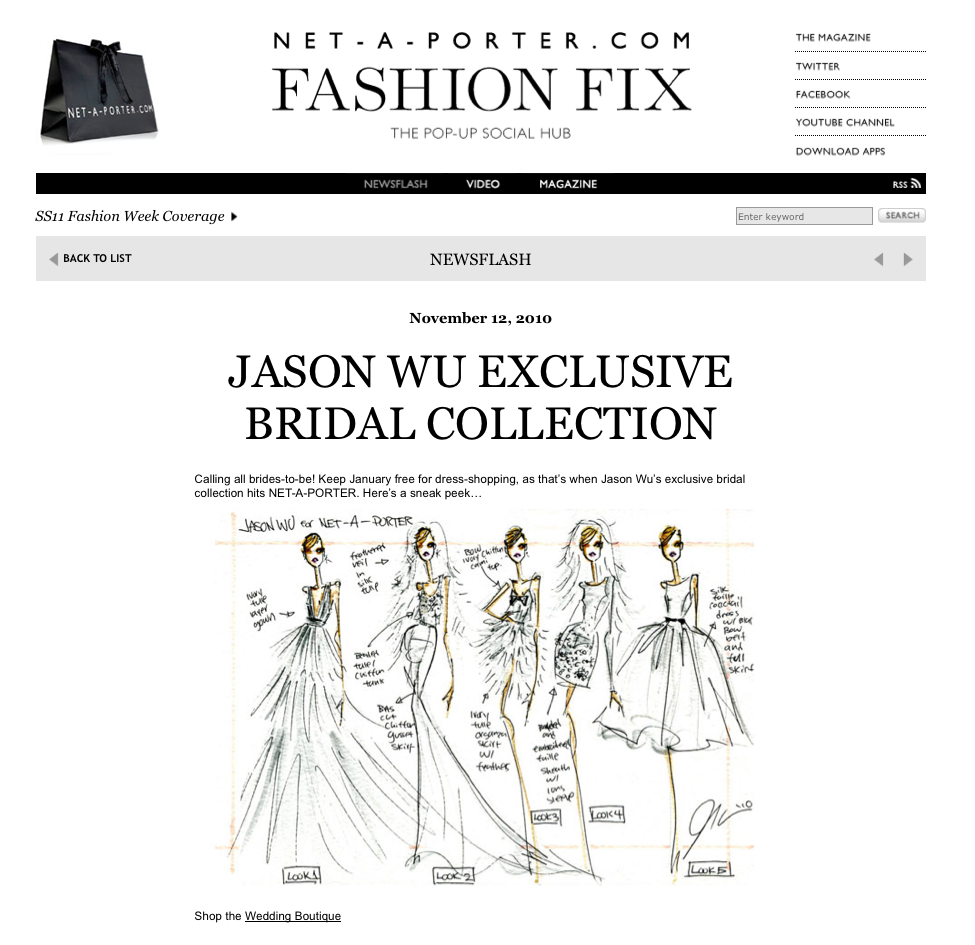 Jason Wu's Exclusive Bridal Collection