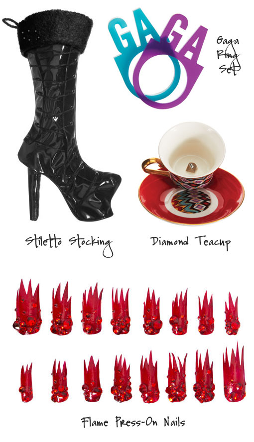 Outrageous Flame & Crystal Press-On Nails and Stillleto Stockings From Lady Gaga