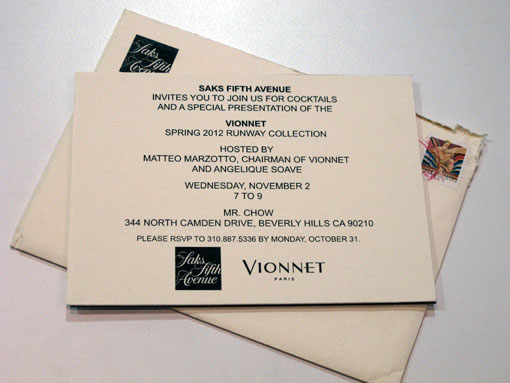 Saks Vionnet Event At Mr. Chow's and Bracelet Giveaway