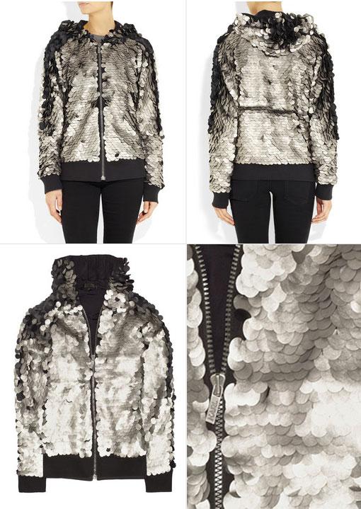 KARL Tuga Metallic Leather Paillette Jacket: On Sale