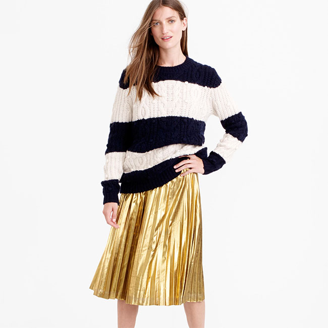 Five Ways To Wear The Coveted Metallic Pleated Skirt For The Holidays